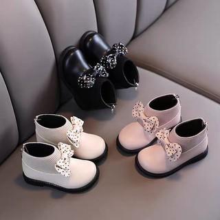 Giày Cổ Cao Chun Len Nơ Chấm Bi Cho Bé Gái Size 21-30 thumbnail