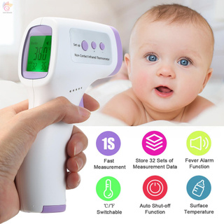 ET Non-Contact Infrared Thermometer Digital Forehead Temperature Measurement LCD IR Thermometer Handheld Temperature Meter with Fever Alarm Dual Measurement Mode 3-Color Backlight 32-Group Data Storage for Children Adults