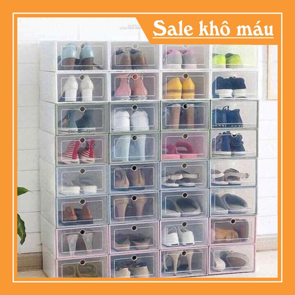 [Freeship]Hộp đựng giày nhựa mica Trắng   Hồng