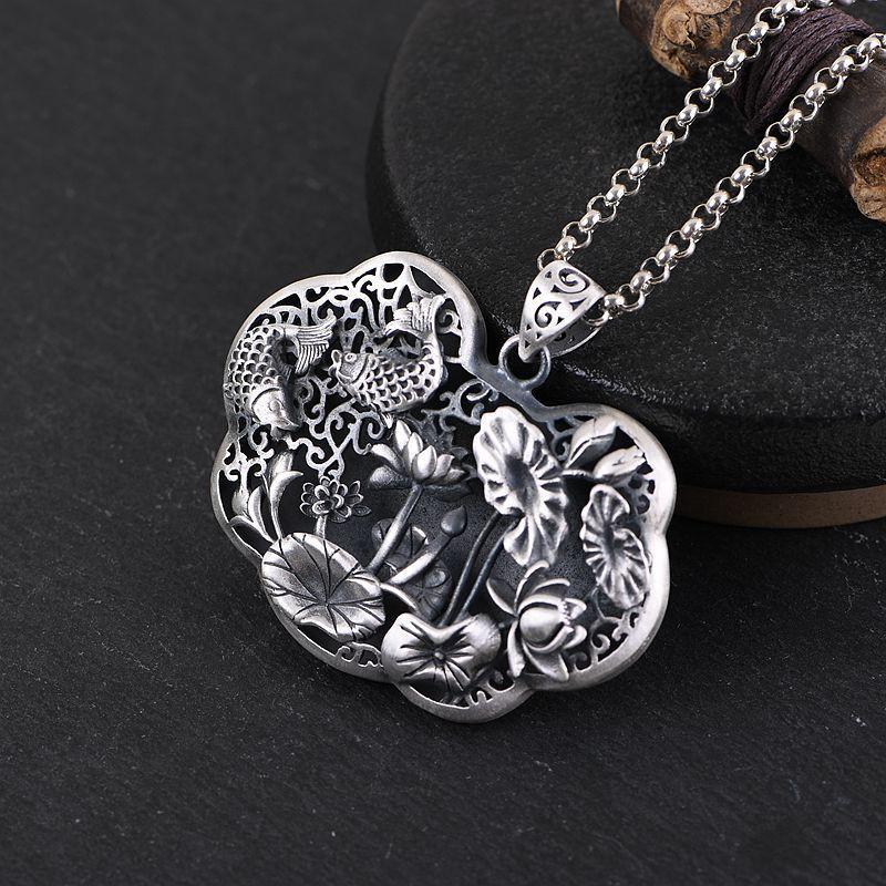 ผู้หญิงเงินวินเทจสีเงินเคลือบสร้อยคอจี้สร้อยคอสองหัวใจสิงโตรูปหัวใจจี้หัวใจ