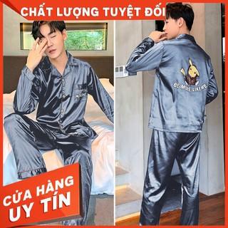 HÀNG CAO CẤP – Bộ Đồ Ngủ Pijama Dài Tay Vải Lụa Thoáng Mát Cho Nam – Hàng Cao Cấp