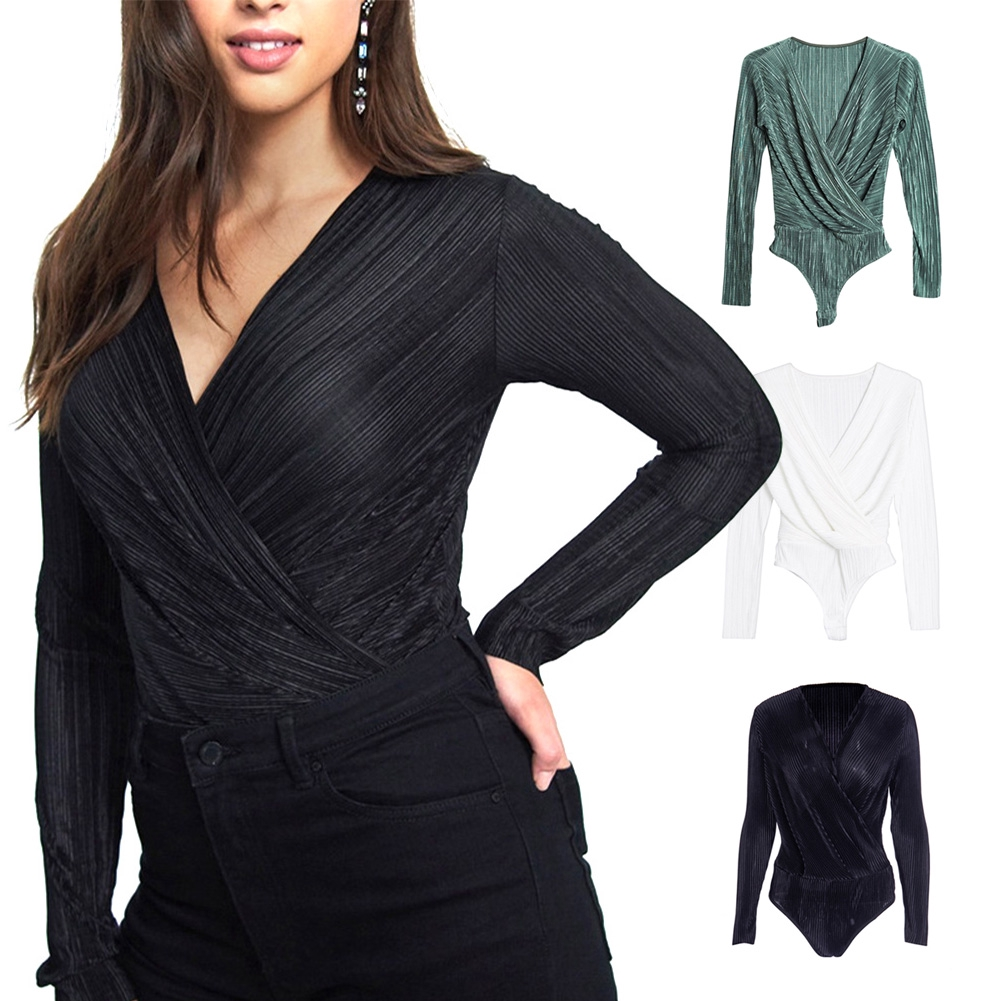 V Neck Front Pleated Women Jumpsuit Blouse Fashion Base Shirt Autumn Solid Textured Long Sleeve Ladies Bodysuit Slim Top