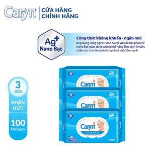 Combo 3 gói Khăn ươ t Caryn 100 miếng gói - Công thức kháng khuẩn - ngăn mùi thumbnail