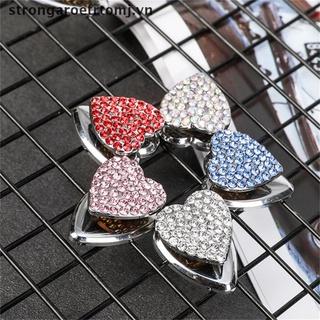 【strongaroetrtomj】 Diamond Rhinestone Heart Shape Alloy Mini Car Hooks Organizer Hanger USB Cable VN