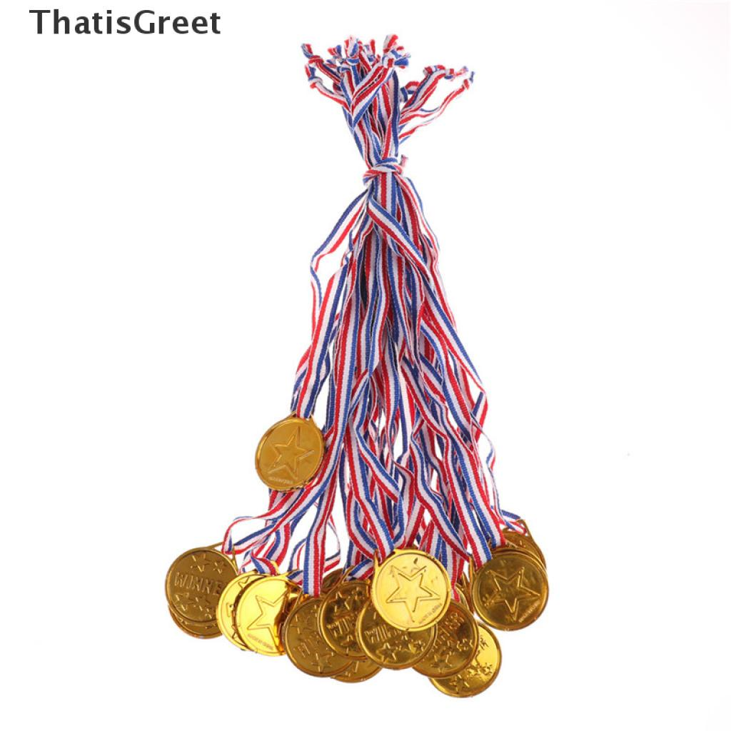 (thsgrt) 20pcs Children Gold Plastic Winners Medals Sports Day Party Bag Prize Awards Toys For party decor [HOT SALE]