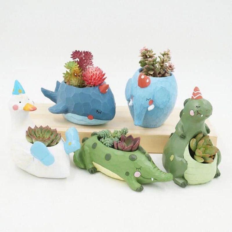 Chậu trồng cây mini hình con vật dễ thương