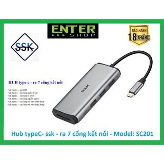 HUB chuyển đổi từ type-c – kết nối ra 7 cổng – SC201 tặng túi bảo vệ HUB