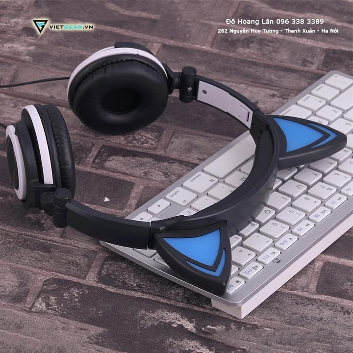 Tai nghe tai mèo TTLIFE xinh xắn Đen xanh, có led, chất lượng cao