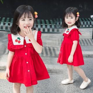Nhập mã <PEEKGIAM>GIẢM 30K Váy công chúa thêu hình cherry đỏ xinh xắn dễ thương cho bé, tay phồng với hình thêu rất xinh