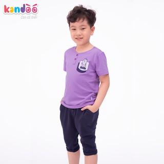Áo T-shirt bé trai KANDOO màu tím hoa cà, thoải mái hoạt động, 100% cotton cao cấp mềm mịn, thoáng mát - DBTS1711