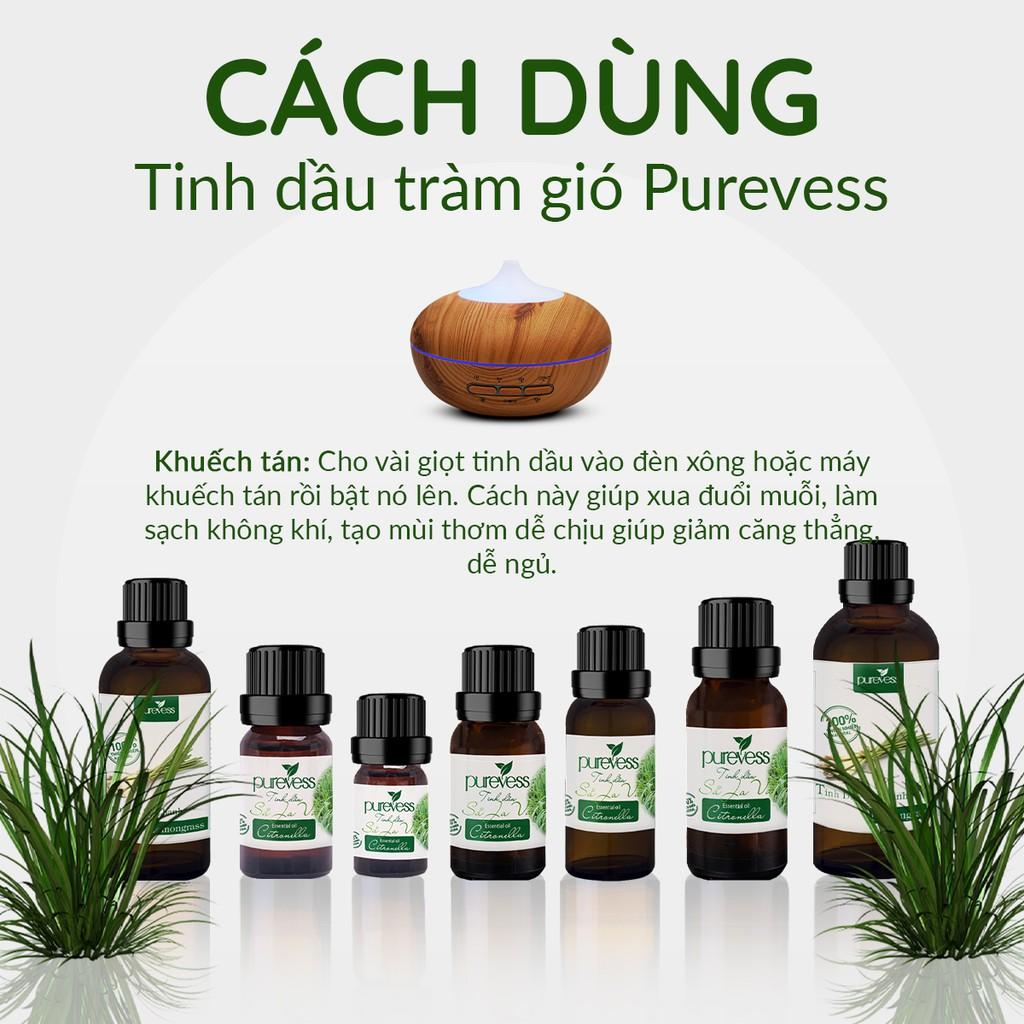 Tinh dầu Sả Java Purevess, thiên nhiên nguyên chất, giúp thư giãn và đuổi muỗi. 20ml