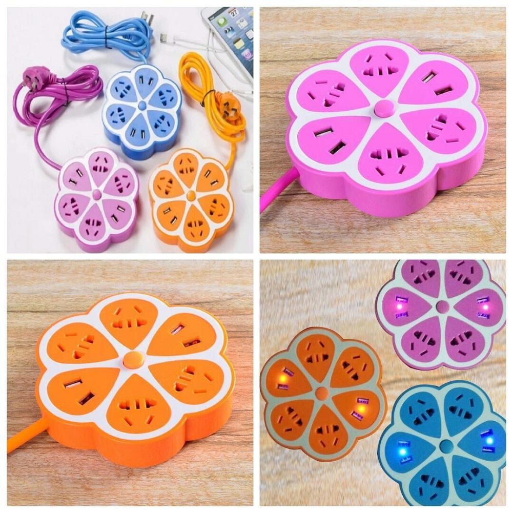 Ổ cắm điện kiêm xạc điện thoại cổng USB hình hoa mai (Nhiều màu)