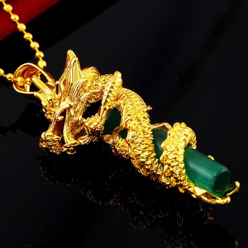 Mặt dây chuyền nam Rồng cuộn cột đá mạ 24k ( xanh lá)