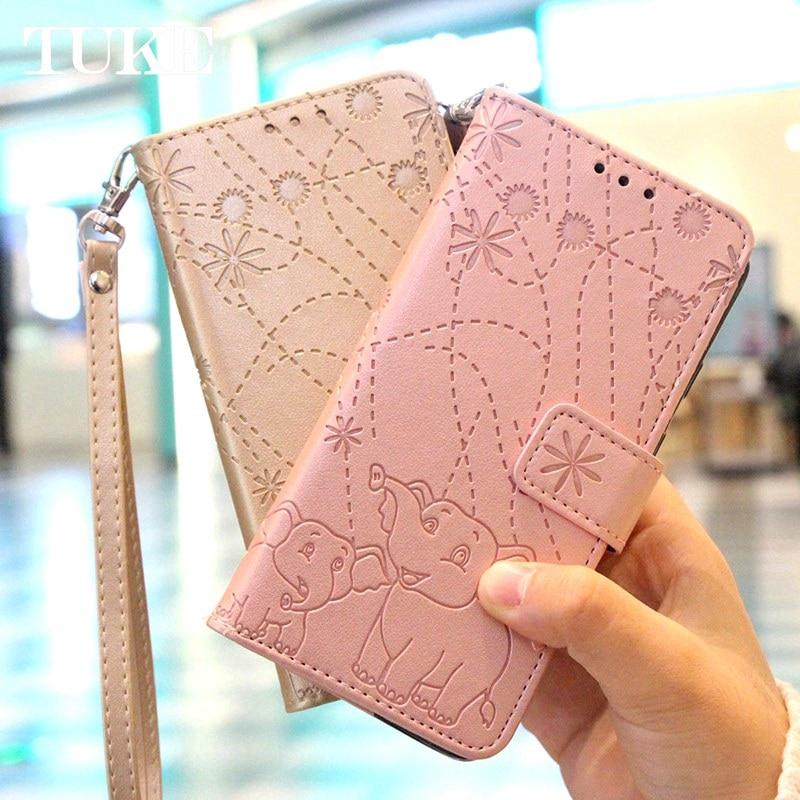Bao da điện thoại nắp gập họa tiết voi dập nổi xinh xắn có ngăn đựng thẻ cho Xiaomi Redmi 5 Plus