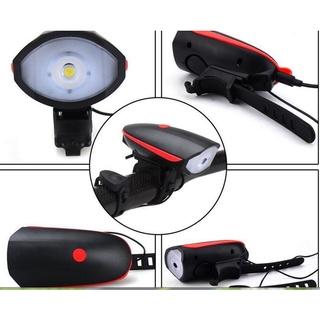Đèn Xe Đạp Thể Thao Siêu Sáng Kèm Còi Pin Sạc USB, Đèn Gắn Xe Đạp Tích Hợp Chuông 3 C thumbnail