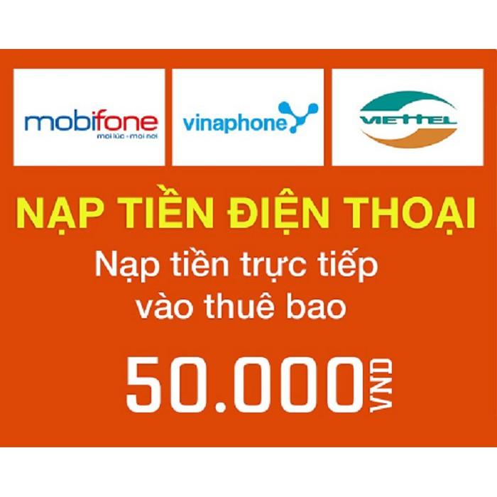 Nạp tiền TRỰC TIẾP thẻ điện thoại 50k các mạng Viettel - Vina - Mobi - 3236909 , 860663641 , 322_860663641 , 50000 , Nap-tien-TRUC-TIEP-the-dien-thoai-50k-cac-mang-Viettel-Vina-Mobi-322_860663641 , shopee.vn , Nạp tiền TRỰC TIẾP thẻ điện thoại 50k các mạng Viettel - Vina - Mobi