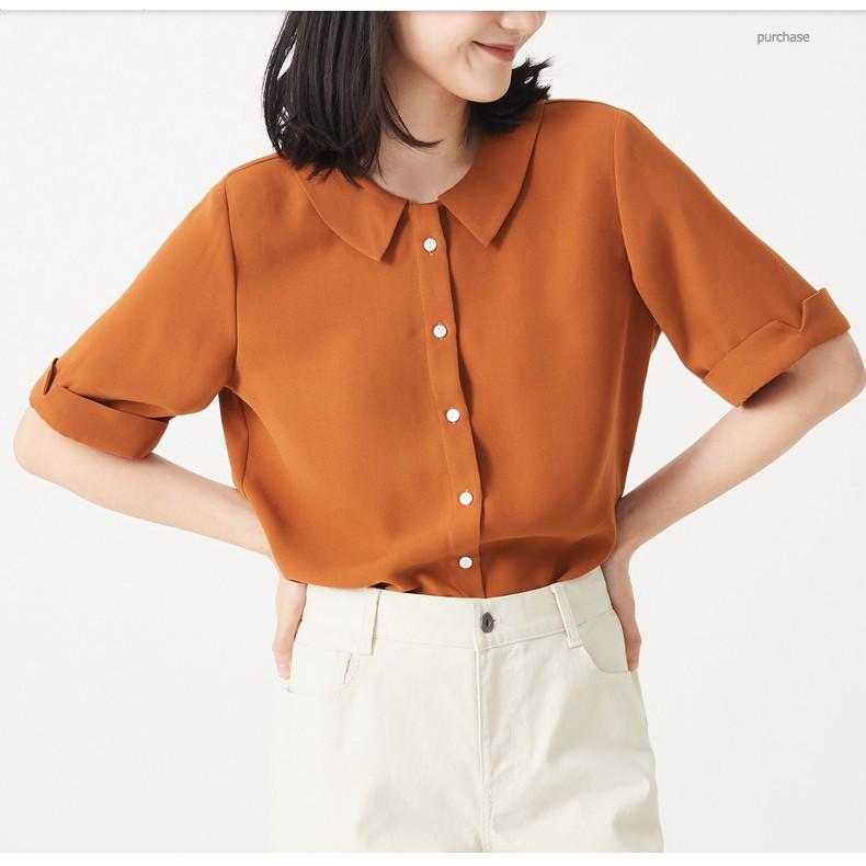 Áo sơ mi nữ cổ sen cộc tay, áo kiểu nữ chất vải đẹp 3 màu - Xuu Design SP08