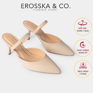 Dép su c cao gót thời trang Erosska quai ma nh phong ca ch Ha n Quô c cao 8cm màu kem _ EM073 thumbnail