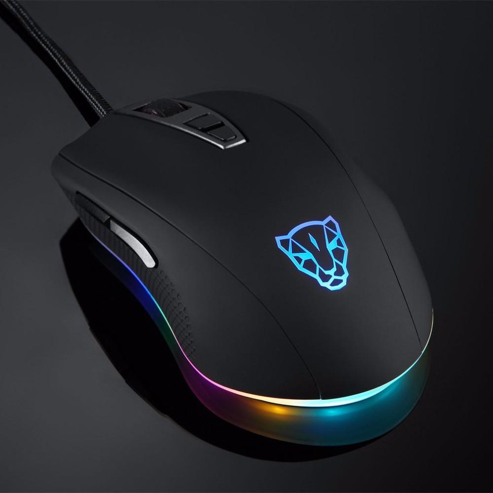 Chuột game thủ Motospeed V60 RGB Gaming mouse DPI 5000 có LED thay đổi theo DPI Xanh, đỏ, đen