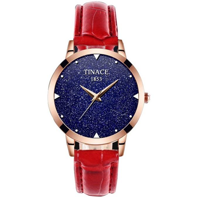 [nhập BESTWTCH20 chỉ còn 80k] Đồng hồ nữ TINACE 1853 dây da mặt kim tuyến cao cấp - 6 màu dây thời t