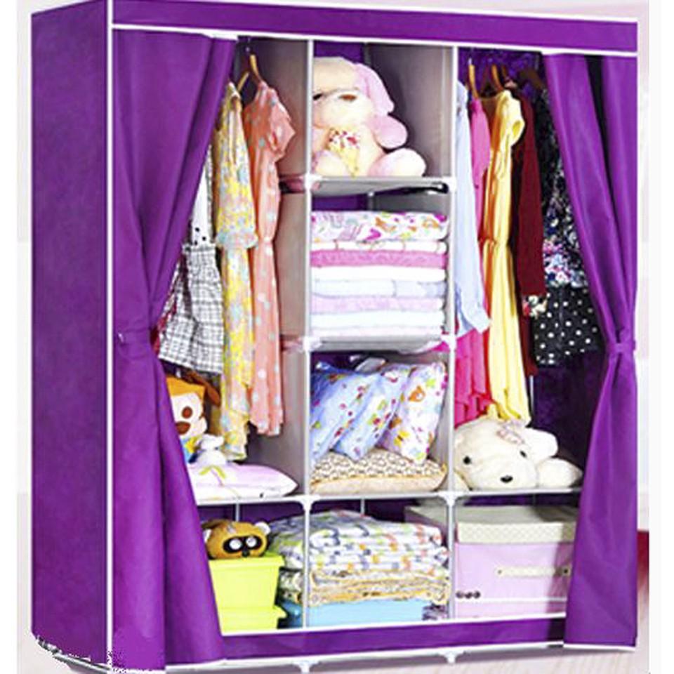 Tủ vải 3 buồng 8 ngăn cửa dáng kéo rèm tiện dụng