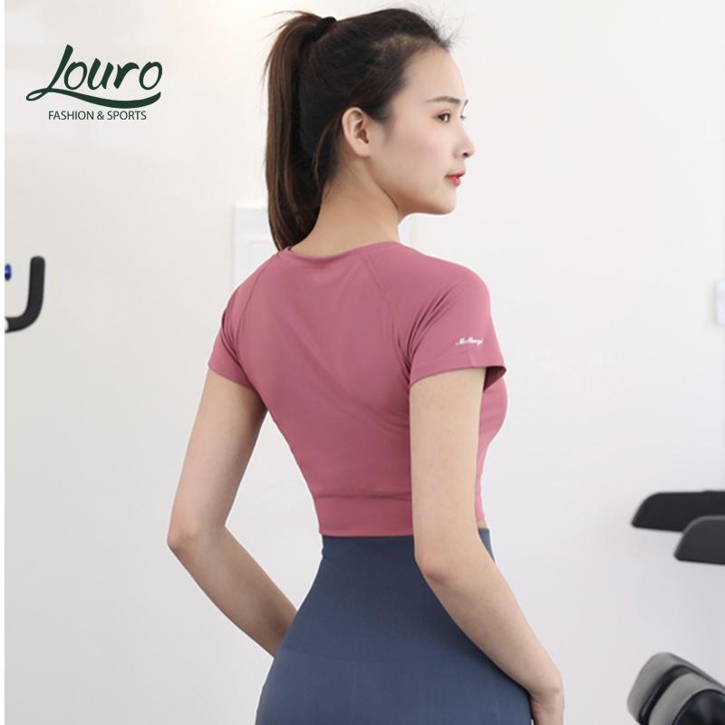 Mặc gì đẹp: Năng động với Áo tập gym, yoga nữ Louro LA57 kiểu áo croptop body dùng tập thể thao, gym, yoga, zumba, chất liệu siêu co giãn