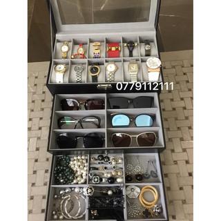 (SALE LỚN) hộp đồng hồ, kính mắt, trang sức 3 tầng