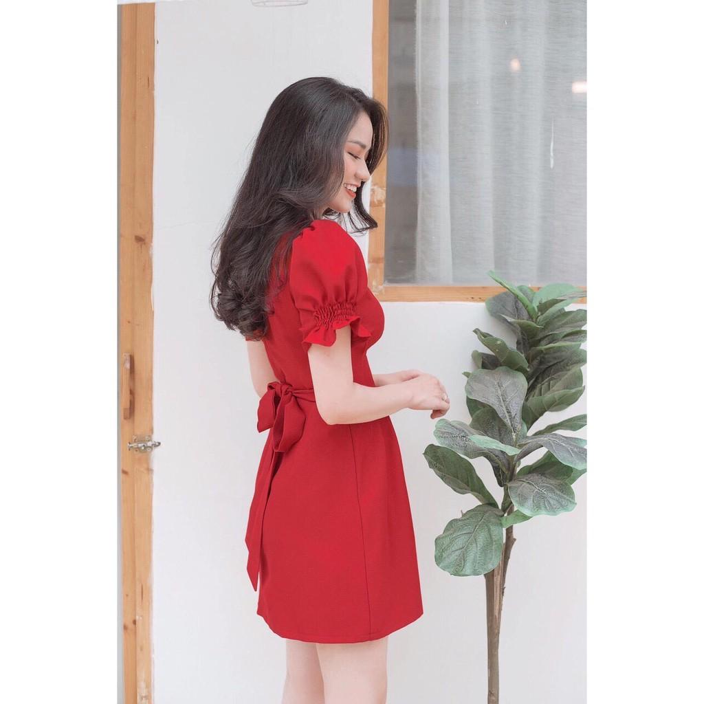 DX813 - Đầm Xòe Xếp Li Cột Nơ Lưng 2 Màu
