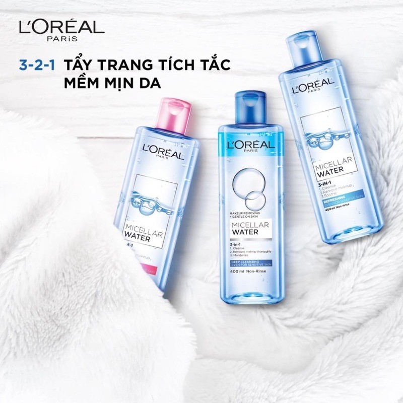 Nước tẩy trang dưỡng ẩm L'Oreal Paris 3-in-1 Micellar water 400ml