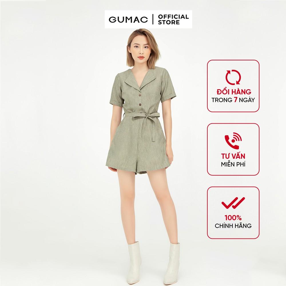 [Mã WABRGUM1 giảm 10% đơn 250K] Jumpsuit nữ phối nút GUMAC, thiết kế màu xanh hot trend DB566