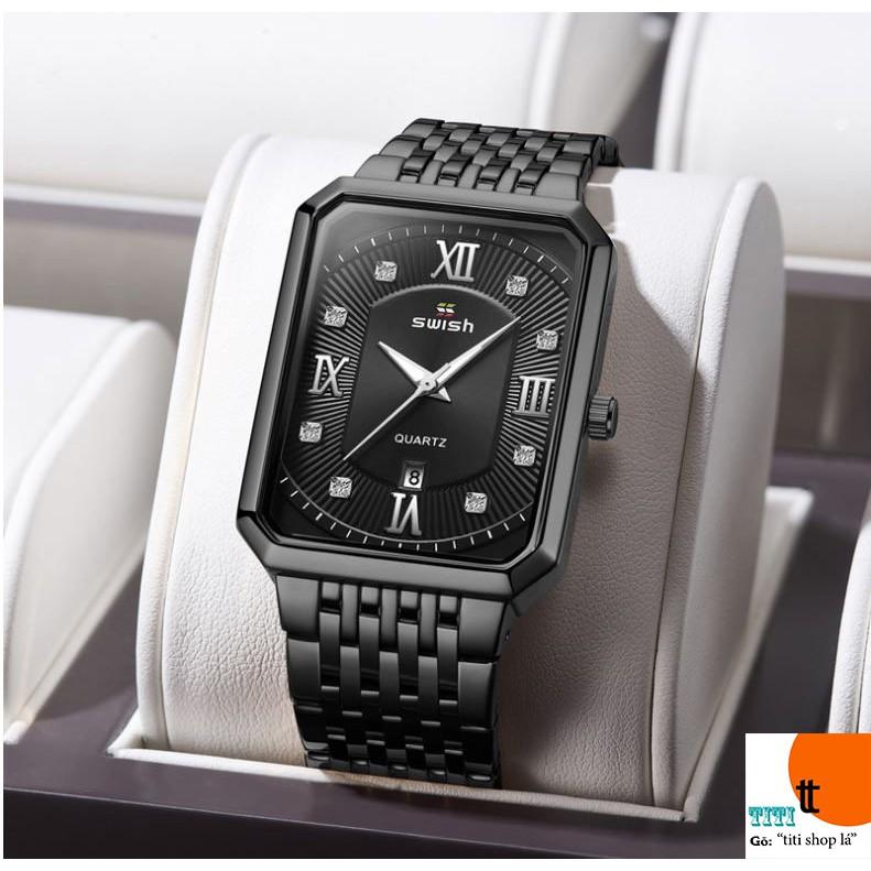 Đồng hồ nam SWISH mặt chữ nhật hàng cao cấp cầm trên tay là mê. ( Mã: SW03)