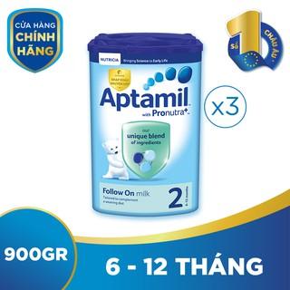 Bộ 3 hộp sữa bột công thức Aptamil số 2 (900g hộp)