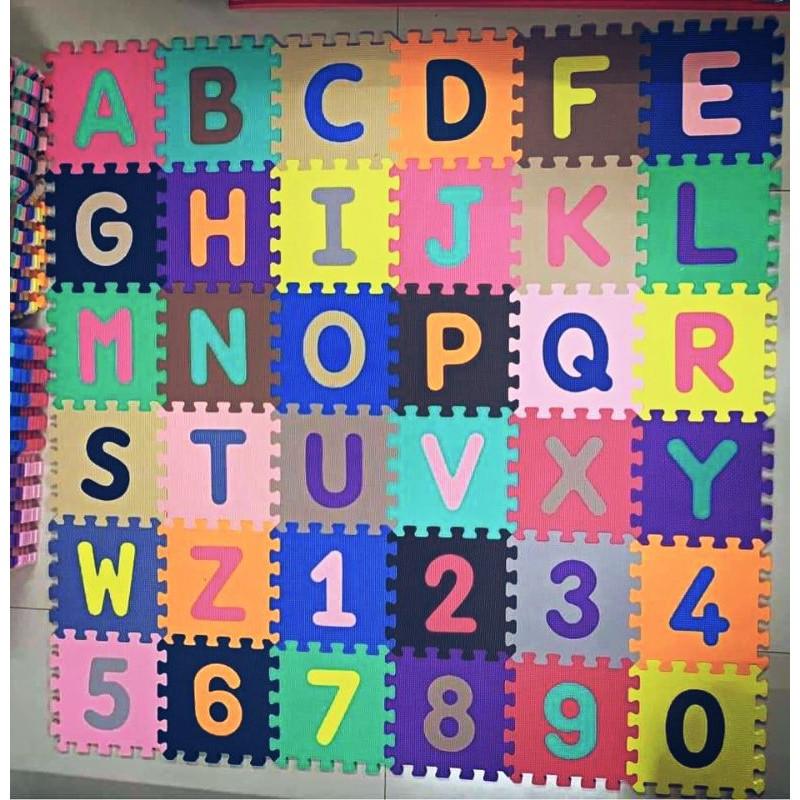 Bộ 36 miếng xốp gồm số và chữ cái cho bé vừa chơi vừa học (25cm x 25cm)