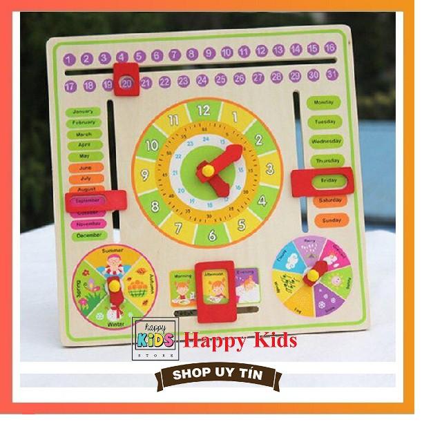Bảng đồng hồ học cách xem giờ, thứ ngày tháng, thời tiết, mùa, đồ chơi đồng