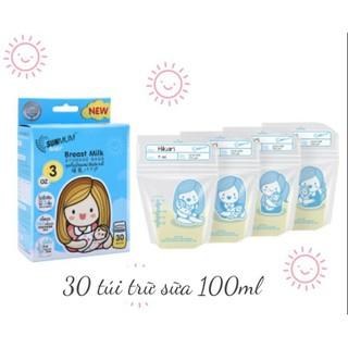 (Nguyên Tem ) 30 Túi trữ sữa Sunmum 100ml