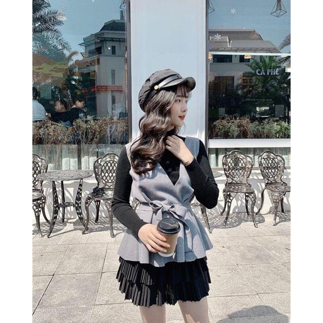 Set gile dạ tuyết nữ có áo len mặc trong đen trắng freesize