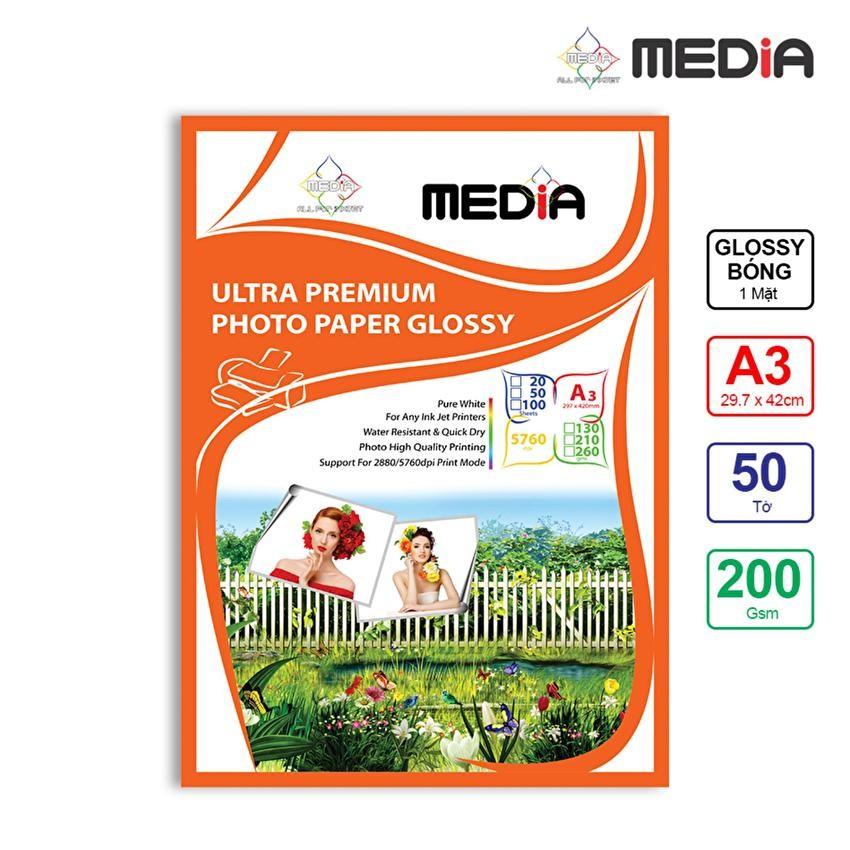 Giấy In Ảnh Media 1 Mặt Bóng A3 200gsm 50 Tờ