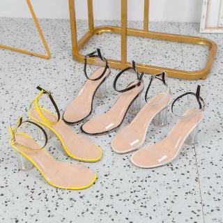 Giày Sandal quai ngang trong suốt thời trang mùa hè dành cho nữ