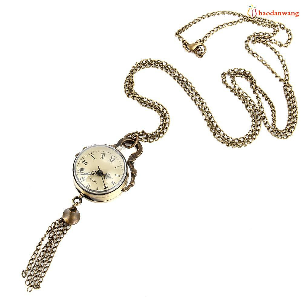 BDW Retro Round Ball Quartz Fob Pocket Watch Tassel Sweater Necklace Chain Jewelry Gifts