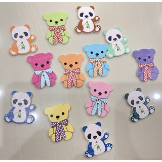 Set 10 nút ( cúc )áo hai lỗ hình gấu nhiều màu