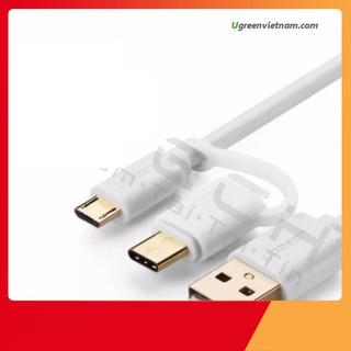 [SẬP GIÁ SỈ = LẺ] Cáp sạc điện thoại USB ra Type C, micro USB đa năng Ugreen 30381 dài 2m Màu trắng