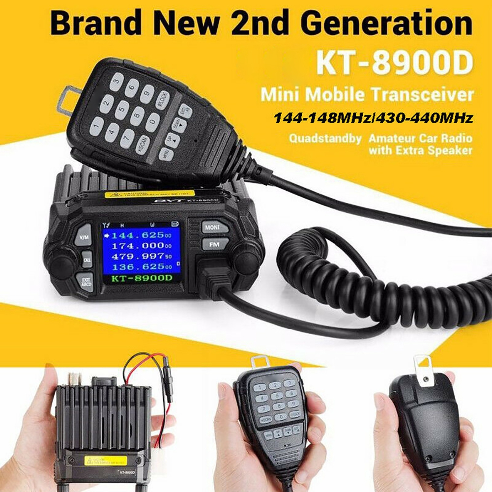 KT8900D Car Mini Quad Standby Compact Long Distance VHF UHF Color Screen Communication Truck Dual Band Mobile Radio