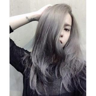 Thuốc nhuộm tóc Xám ánh bạc + tặng kèm trợ nhuộm
