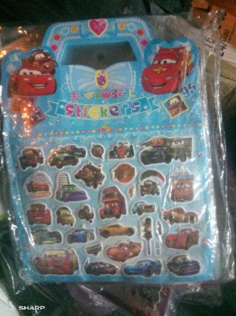 Sticker công chúa elsa/ô tô/chú chó cứu hộ/anna cho bé loại to hình in 3d nổi bật