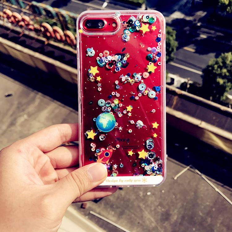 ☼○Iphonex mobile phone shell new star Apple 7plus Quicksand liquid flow 6s transparent 8 Tide card Flash Powder