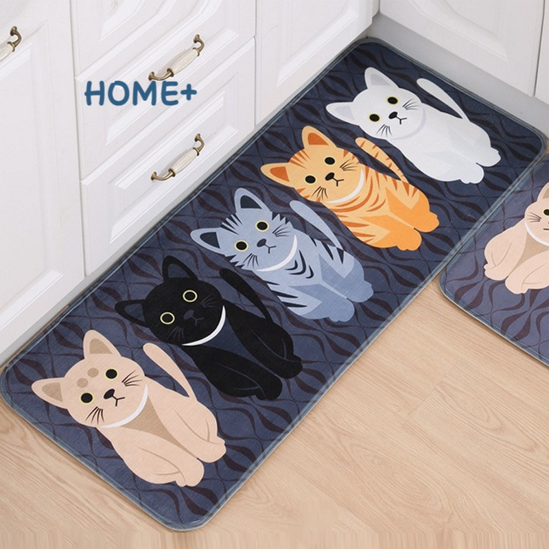Fashion Floor Mats Cartoon Cushion Cat Printed Carpets Doormats For Kitchen Bathroom Living Room Anti-Slip Pad @vn