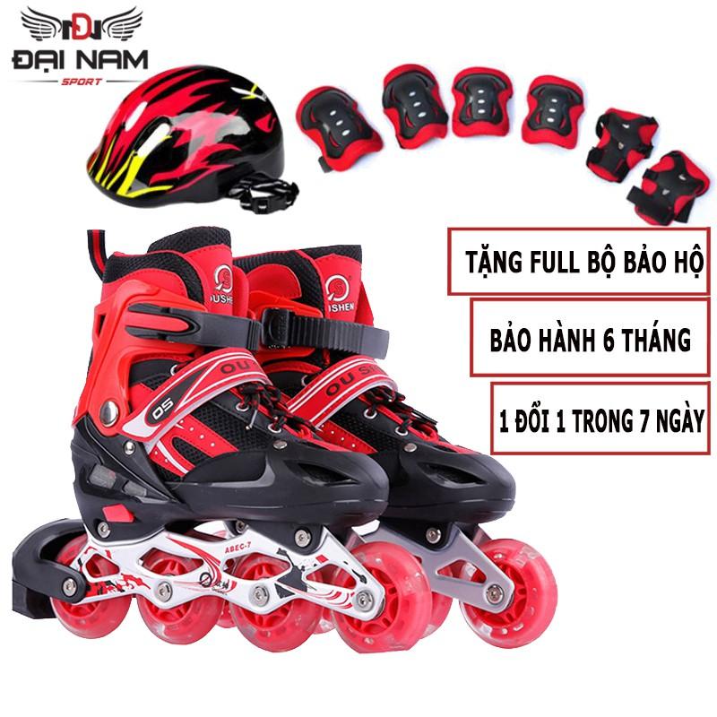 Combo Giày Trượt Patin Trẻ Em,Người Lớn Tăng Giảm Size Cao Cấp OS01 Đại Nam Sport + Tặng Bộ Bảo Hộ