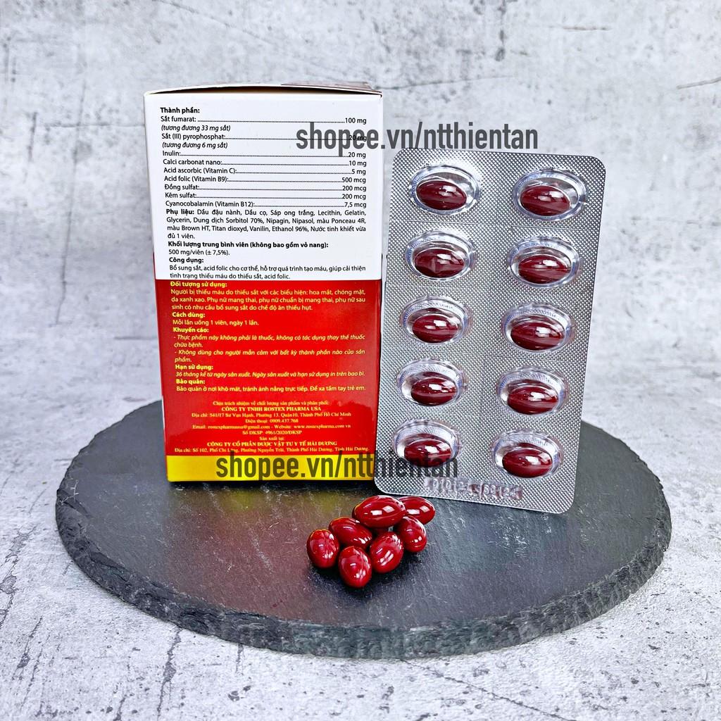 Viên uống bổ sung sắt FEVITT NANO bổ máu, cải thiện tình trạng thiếu máu - Hộp 100 viên