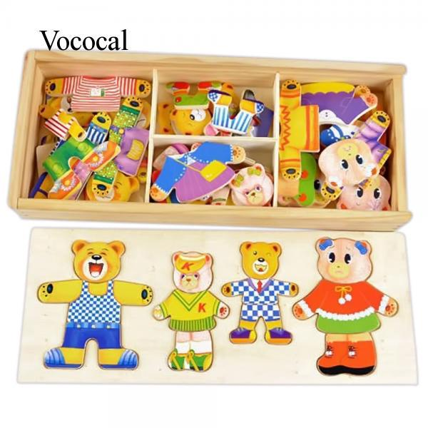 Vococal Educational Play Toys Children Babies Kids Wooden Bear Family Dress-Up Puzzle Toys