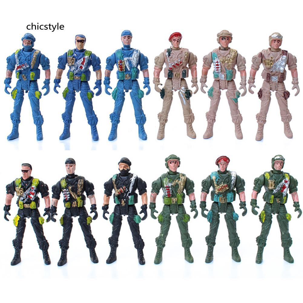 ❤❤❤9cm Mini Kids Plastic Military Soldier Model Army Men Figure Toy Home Decor